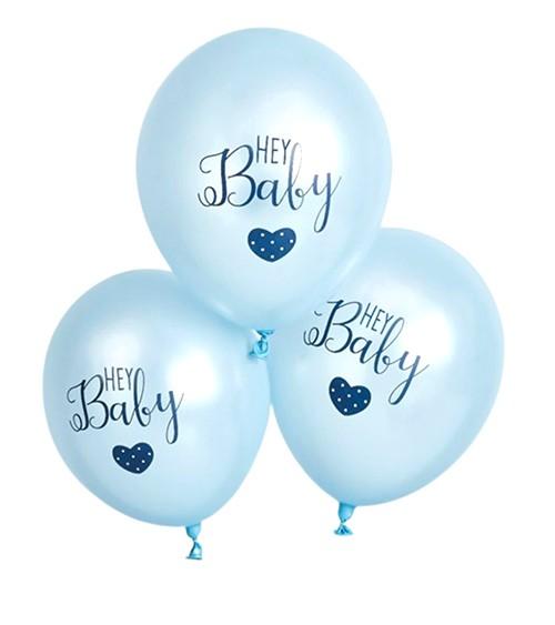 "Luftballons ""Hey Baby"" - blau - 6 Stück"