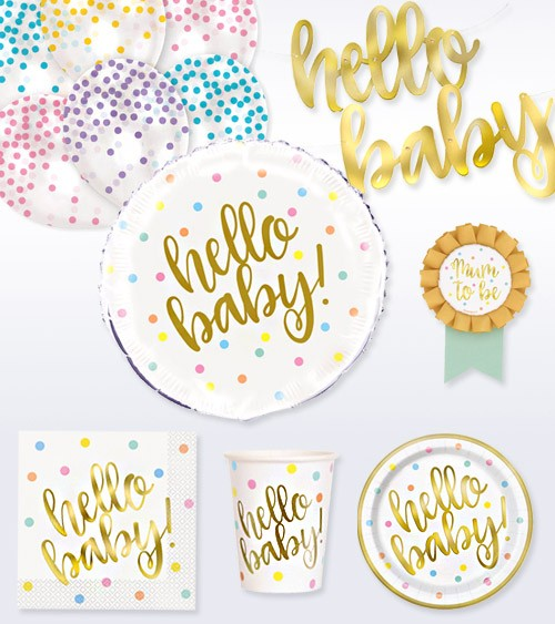 "Babyparty Deko-Set ""Hello Baby"" - gold - 41-teilig"