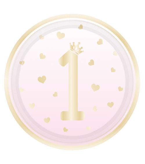 "Pappteller ""1st Birthday"" - rosa ombre & gold - 8 Stück"