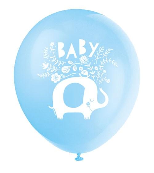 "Luftballons ""Floral Elephant"" - blau - 8 Stück"