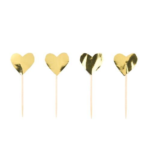 Herzpicks - metallic gold - 24 Stück