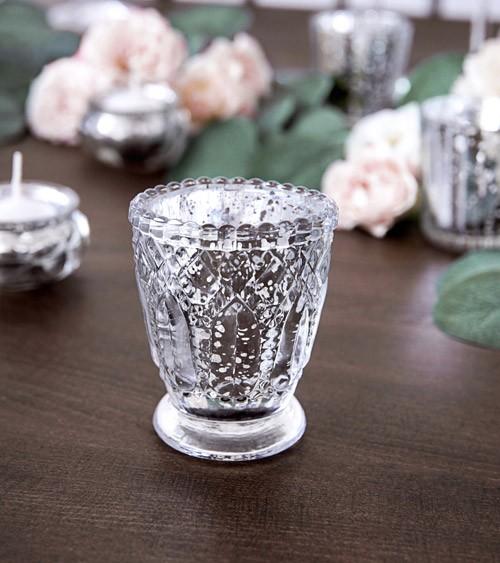 Vintage-Teelichthalter - silber - 8 cm - 4 Stück