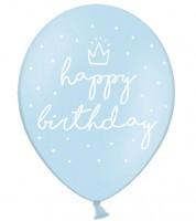 """Luftballons """"Happy Birthday"""" - pastellblau - 50 Stück"""