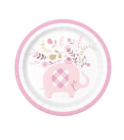 "Kleine Pappteller ""Floral Elephant"" - rosa - 8 Stück"