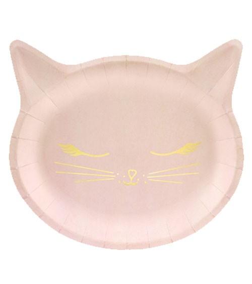 Katzen-Pappteller - rosa - 6 Stück