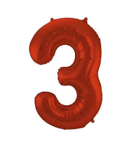 """Zahl-Folienballon """"3"""" - matt rot - 86 cm"""