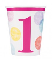 """Pappbecher """"1. Geburtstag - pink/pastell"""" - 8 Stück"""