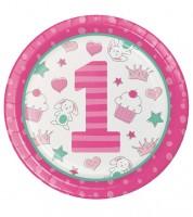 """Pappteller """"Happy One - pink"""" - 8 Stück"""