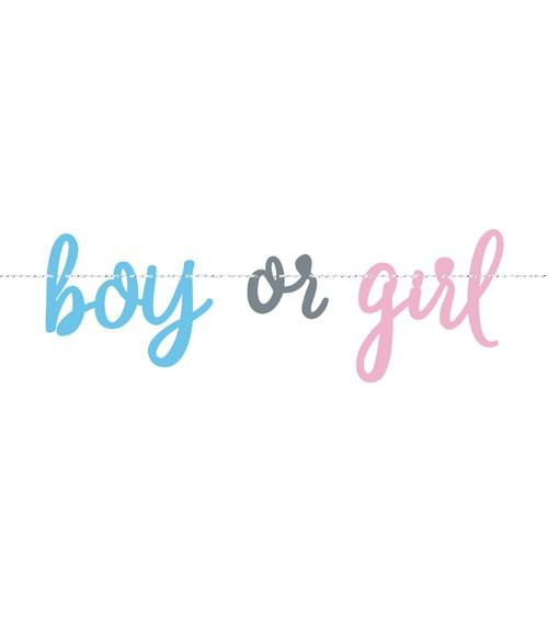 """Schriftzuggirlande aus Pappe """"boy or girl"""" - 2,13 m"""