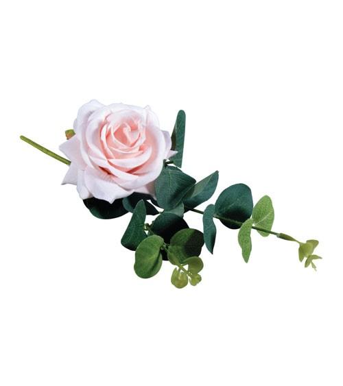 Künstliche Rose mit Eukalyptus - rose - 28 cm