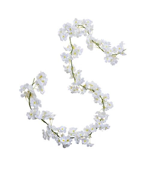 Künstliche Kirschbaumblüten-Girlande - weiß - 1,8 m