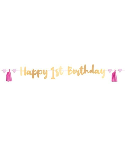 Happy 1st Birthday-Girlande mit rosa Tasseln - gold - 1,8 m