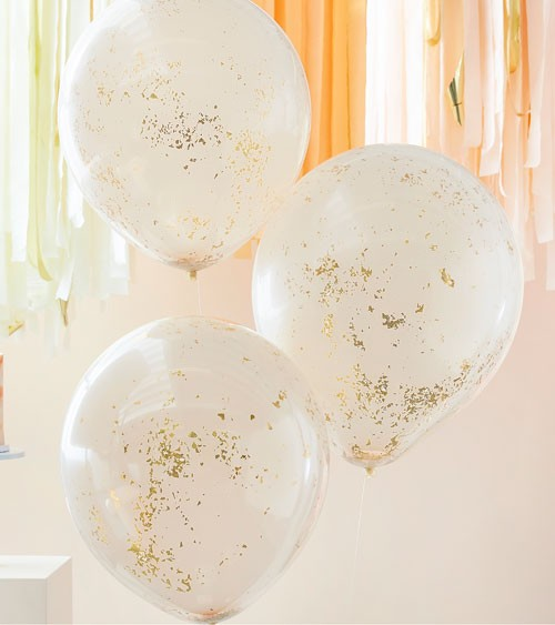 Konfetti-Ballons - doppellagig - gold & pfirsich - 45 cm - 3 Stück