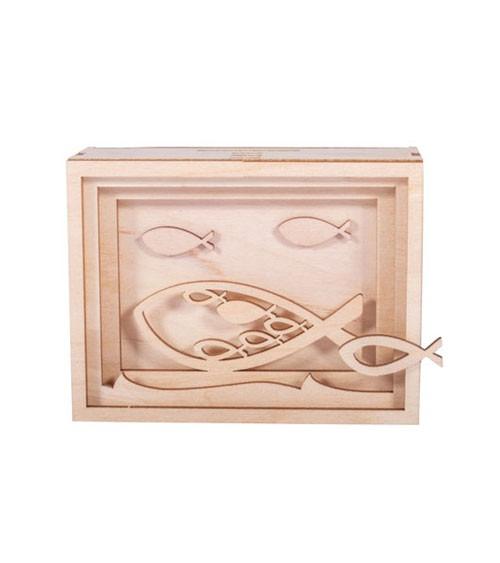 """DIY 3D-Geschenkbox aus Holz """"Fisch"""" - 11,5 x 8,5 x 5 cm"""