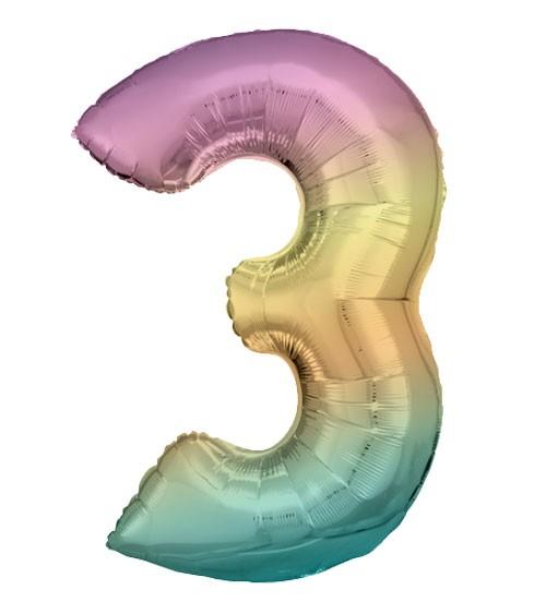 "Supershape-Folienballon ""3"" - Rainbow - 83 cm"