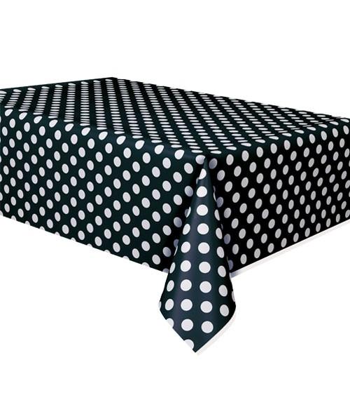 """Kunststoff-Tischdecke """"Big Dots"""" - schwarz - 137 x 274 cm"""