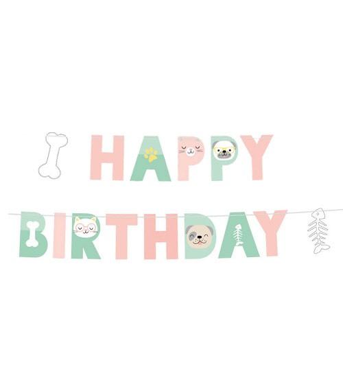 "Happy Birthday-Girlande ""Cats & Dogs"" - 1,8 m"