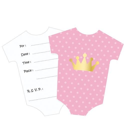 "Babyparty-Einladungskarten ""Babybody"" - rosa - 6 Stück"
