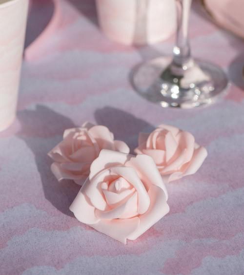 Rosenblüten-Streuteile aus Kunststoff - rosa - 9-teilig