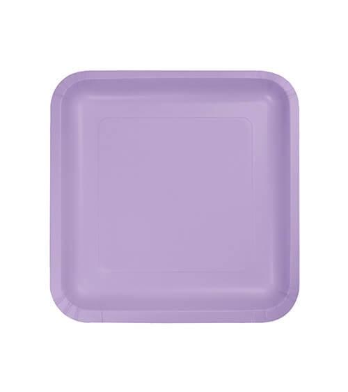 Kleine eckige Pappteller - lavendel - 18 Stück