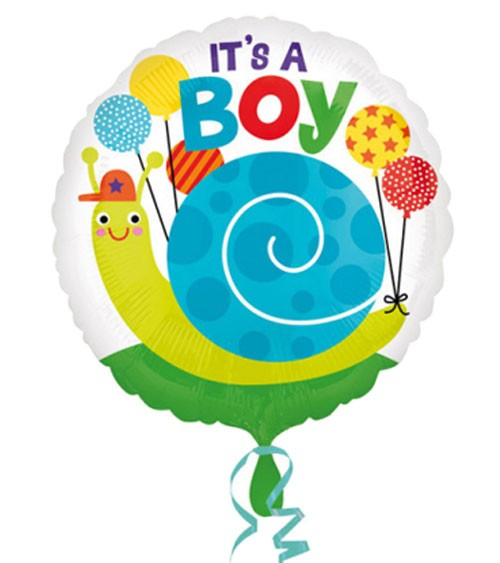 "Runder Folienballon Schnecke ""It's a Boy"""