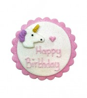 "Zuckerdekor ""Einhorn"" - Happy Birthday - 7,5 cm"