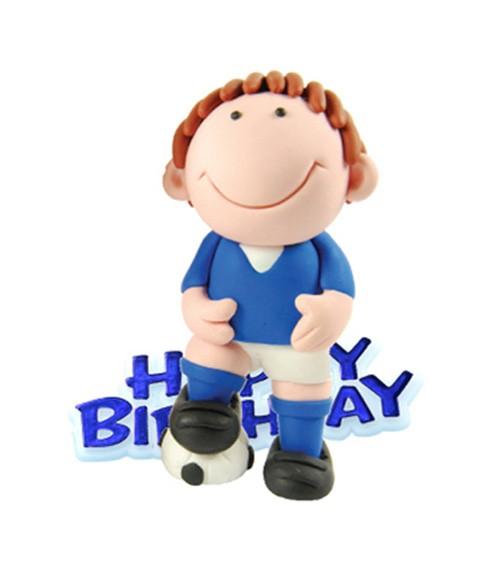 """Tortendekoration """"Fußballer"""" Happy Birthday - blau - 2-teilig"""