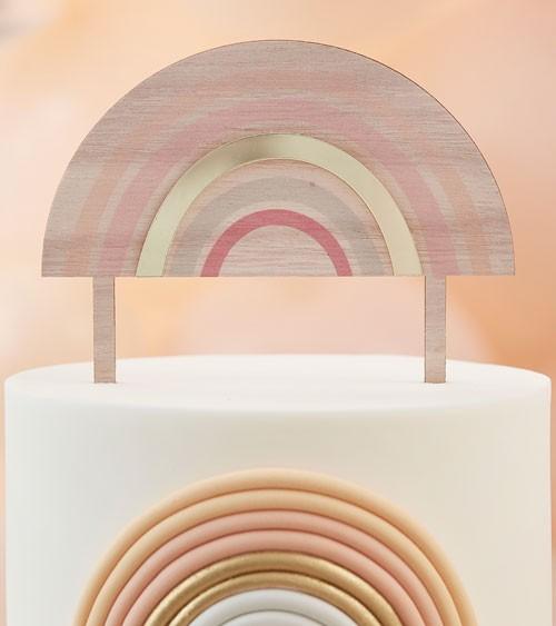 Regenbogen-Cake-Topper aus Holz mit goldenem Akzent