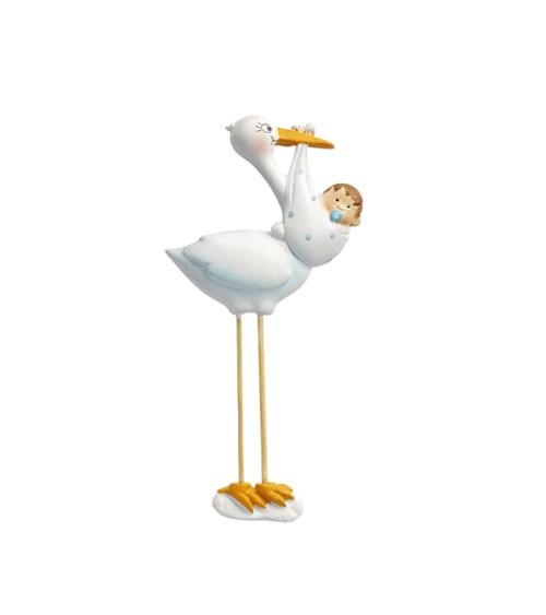 Storch mit Baby Boy - 2D - 10 cm