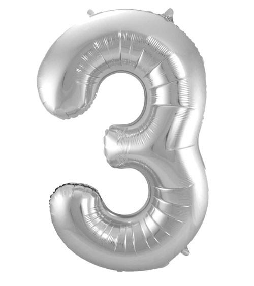 "SuperShape Folienballon ""3"" - silber"