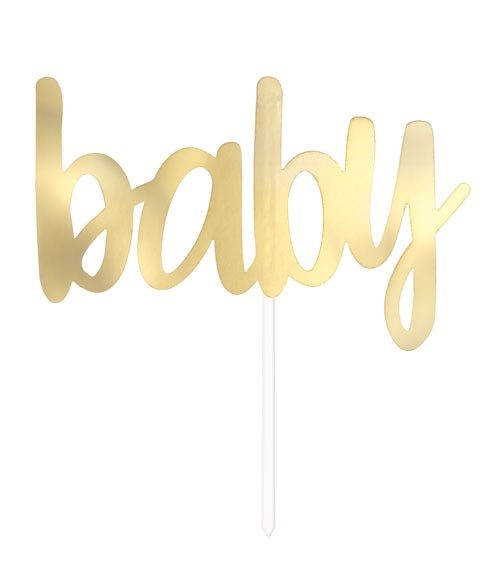 "Cake Topper ""Baby"" - gold metallic"