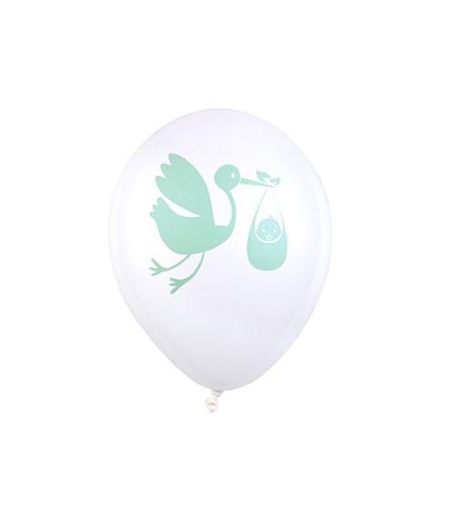 """Luftballons """"Storch mit Baby"""" - weiß/mint - 8 Stück"""