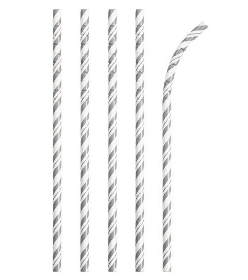 Flexible Papierstrohhalme mit Streifen - silber - 24 Stück
