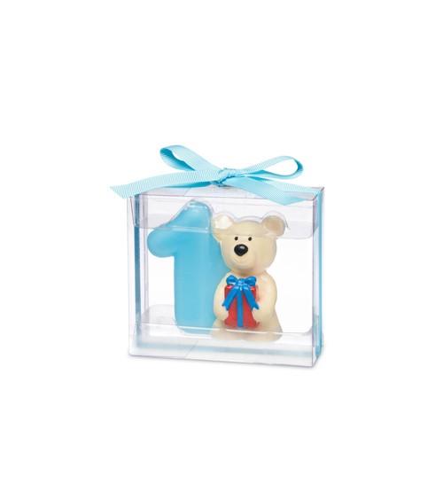 Kerze 1. Geburtstag mit Teddybär - blau