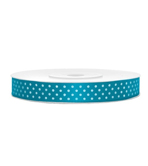 Türkisfarbenes Geschenkband mit weißen Punkten