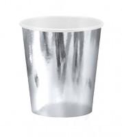 Kleine Pappbecher - metallic silber - 6 Stück