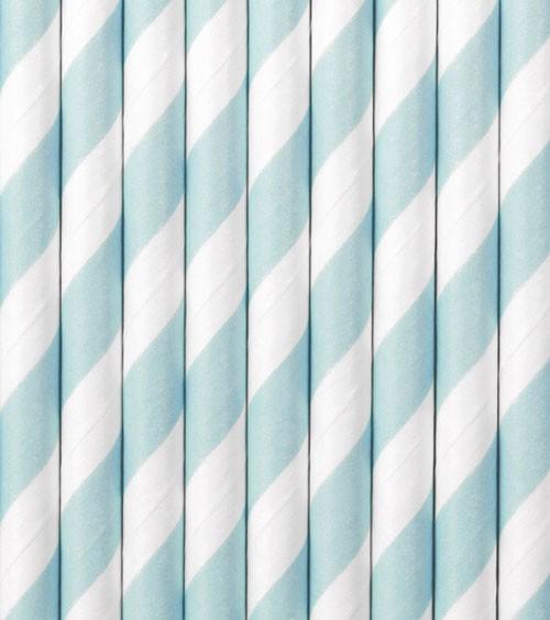 Papierstrohhalme gestreift - pastellblau - 10 Stück