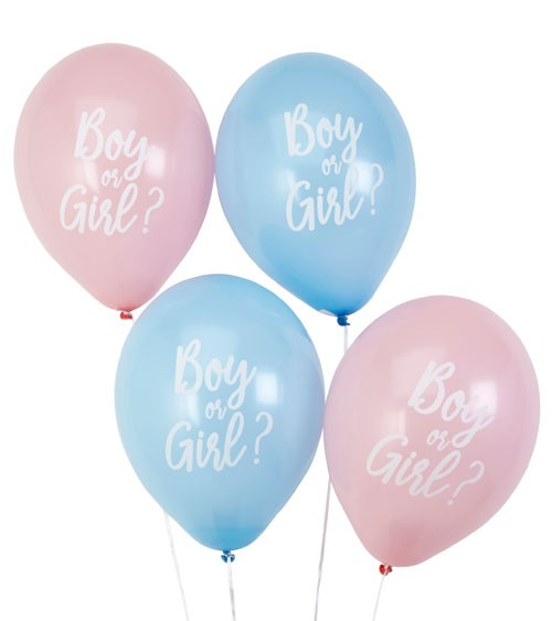 "Luftballon-Set ""Boy or Girl?"" - rosa/hellblau - 8-teilig"