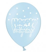 "Luftballons ""Happy Birthday baby boy!"" - pastellblau - 6 Stück"