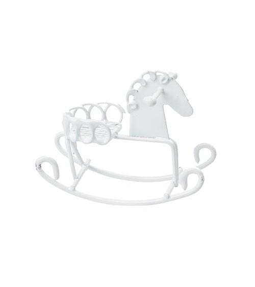 Deko-Schaukelpferd aus Metall - weiß - 5 cm