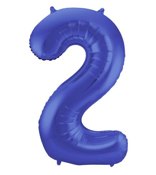 "Zahl-Folienballon ""2"" - matt blau - 86 cm"
