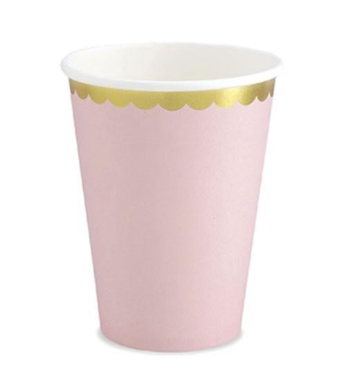Pappbecher mit Goldrand - rosa - 6 Stück