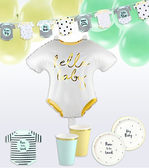 """Babyparty-Deko-Set """"Born to be loved"""" - 61-teilig"""