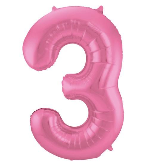 """Zahl-Folienballon """"3"""" - matt candy pink - 86 cm"""