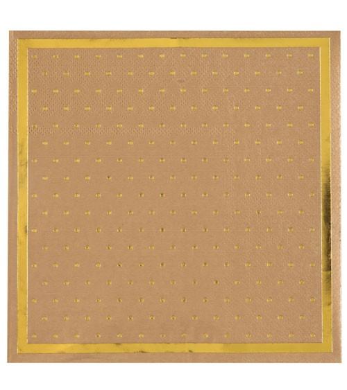 Servietten mit goldenen Pünktchen - kraftpapier - 20 Stück
