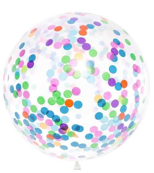 Transparenter Riesenballon mit buntem Konfetti - 1 m