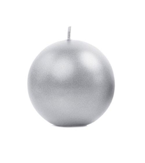 Kugelkerzen - silber metallic - 8 cm - 6 Stück