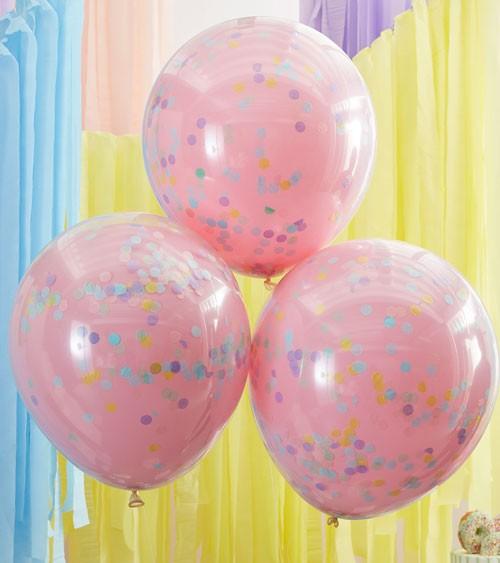 Konfetti-Ballons - doppellagig - rosa - 45 cm - 3 Stück