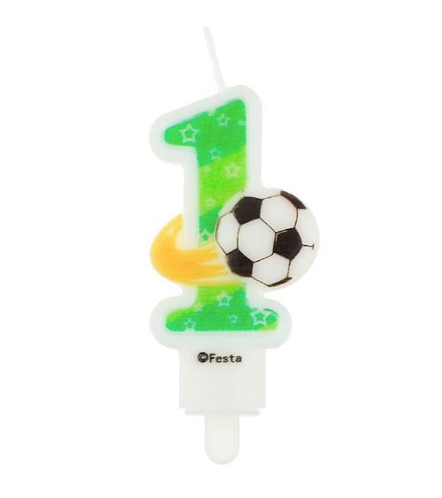 """Fußball-Zahlenkerze """"1"""" - 7,8 cm"""