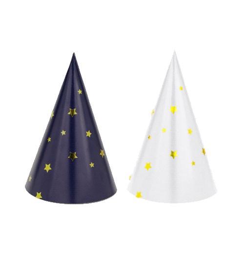 Partyhüte mit Sternen - navyblue/weiß - 6 Stück